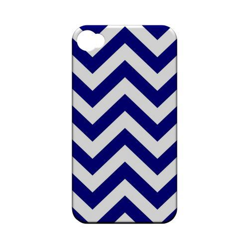 Navy Blue on White Geeks Designer Line Zig Zag Series Matte Hard Case for Apple iPhone 4/4S