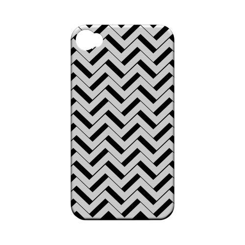 Black/ White 3D Geeks Designer Line Zig Zag Series Matte Hard Case for Apple iPhone 4/4S