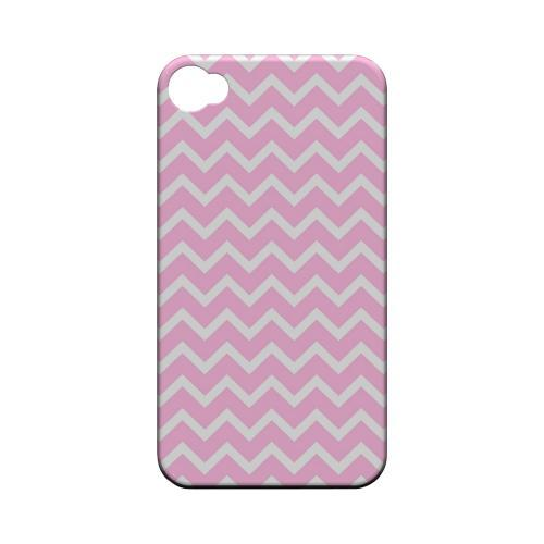 White on Pink Geeks Designer Line Zig Zag Series Matte Hard Case for Apple iPhone 4/4S