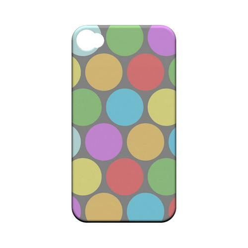 Big & Rainbow on Gray Geeks Designer Line Polka Dot Series Matte Hard Case for Apple iPhone 4/4S