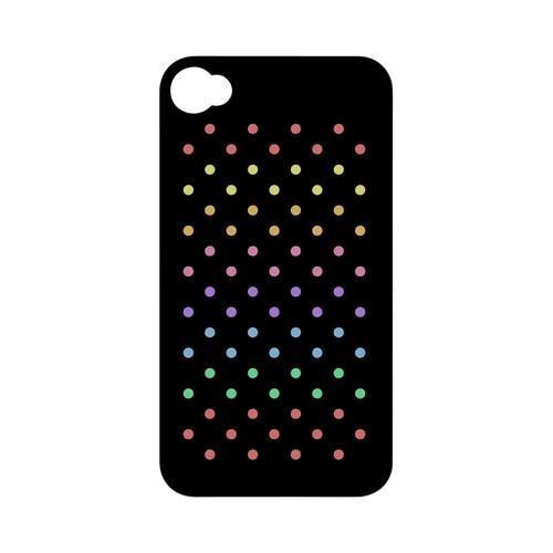 Rainbow Dots on Black Geeks Designer Line Polka Dot Series Matte Hard Case for Apple iPhone 4/4S