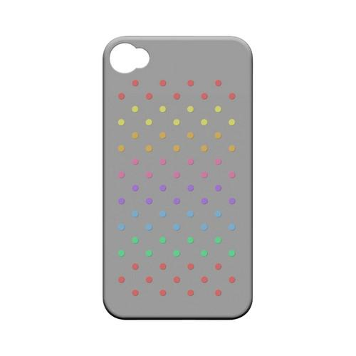 Rainbow Dots on Gray Geeks Designer Line Polka Dot Series Matte Hard Case for Apple iPhone 4/4S
