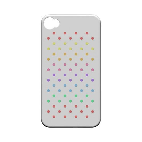Rainbow Dots on White Geeks Designer Line Polka Dot Series Matte Hard Case for Apple iPhone 4/4S