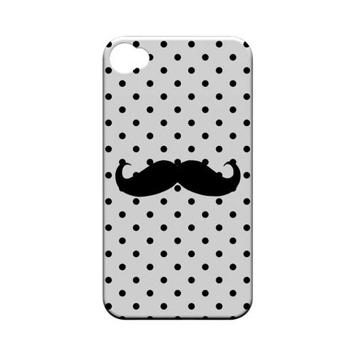 Stache on White Geeks Designer Line Polka Dot Series Matte Hard Case for Apple iPhone 4/4S