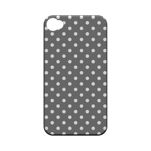 White Dots on Gray Geeks Designer Line Polka Dot Series Matte Hard Case for Apple iPhone 4/4S