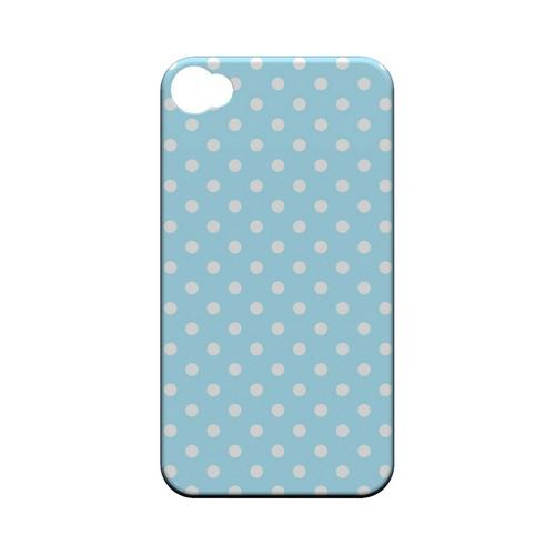 White Dots on Sky Blue Geeks Designer Line Polka Dot Series Matte Hard Case for Apple iPhone 4/4S
