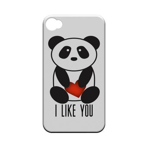 I Like You Panda Geeks Designer Line Heart Series Matte Hard Case for Apple iPhone 4/4S