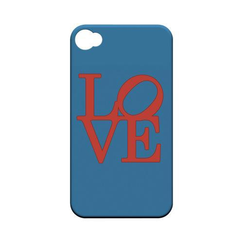 Red Love on Blue Geeks Designer Line Heart Series Matte Hard Case for Apple iPhone 4/4S