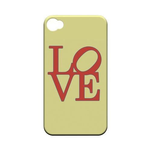Red Love on Yellow Geeks Designer Line Heart Series Matte Hard Case for Apple iPhone 4/4S