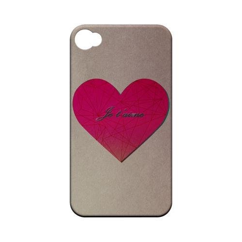 Je t'aime Geeks Designer Line Heart Series Matte Hard Case for Apple iPhone 4/4S