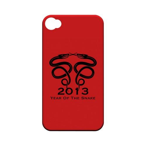 Dual Snake on Red Geeks Designer Line Chinese Horoscope Series Matte Hard Case for Apple iPhone 4/4S