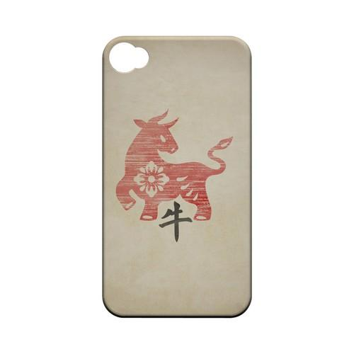 Grunge Ox Geeks Designer Line Chinese Horoscope Series Matte Hard Case for Apple iPhone 4/4S