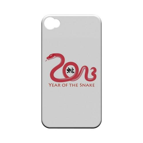 Red Year of the Snake Geeks Designer Line Chinese Horoscope Series Matte Hard Case for Apple iPhone 4/4S