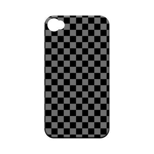 Gray/ Black - Geeks Designer Line Checker Series Matte Case for Apple iPhone 4/4S
