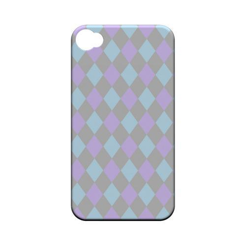 Gray/ Blue/ Purple Argyle - Geeks Designer Line Checker Series Matte Case for Apple iPhone 4/4S