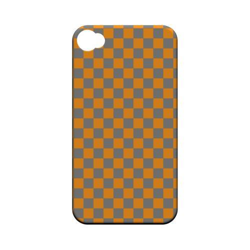 Orange/ Gray - Geeks Designer Line Checker Series Matte Case for Apple iPhone 4/4S