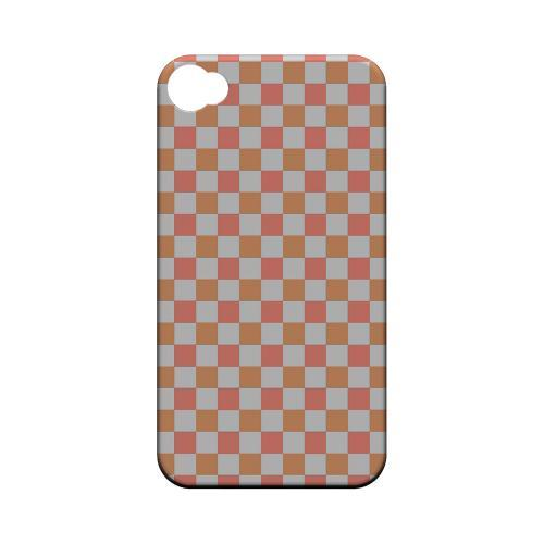 Pink/ Peach - Geeks Designer Line Checker Series Matte Case for Apple iPhone 4/4S