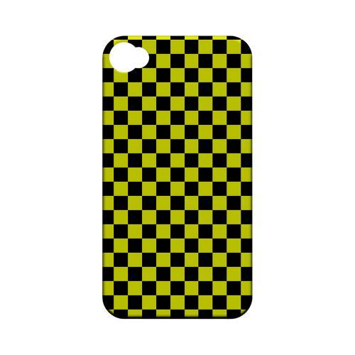 Yellow/ Black - Geeks Designer Line Checker Series Matte Case for Apple iPhone 4/4S