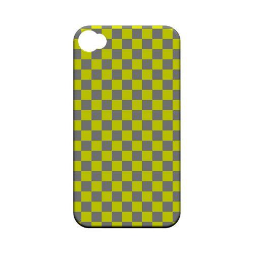 Yellow/ Gray - Geeks Designer Line Checker Series Matte Case for Apple iPhone 4/4S