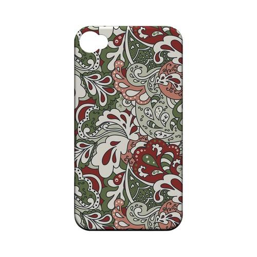Green/ Red/ Pink Paisley - Geeks Designer Line Floral Series Matte Case for Apple iPhone 4/4S