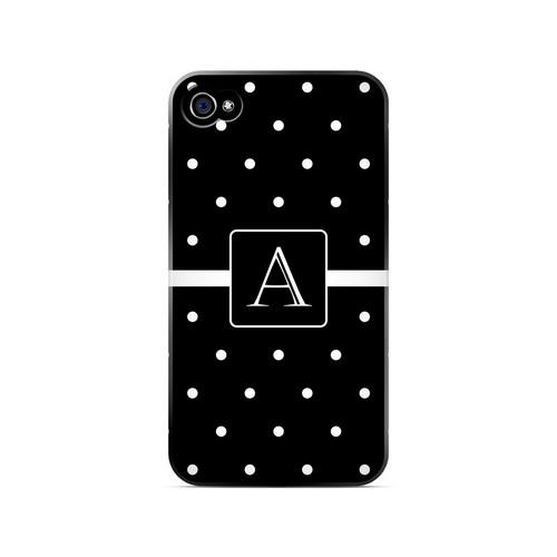 A on Classic Mini Polka Dots - Geeks Designer Line Monogram Series Matte Case for Apple iPhone 4/4S
