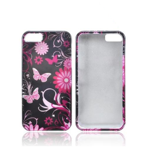 Apple iPhone 5/5S Hard Case - Pink Flowers & Butterflies on Black