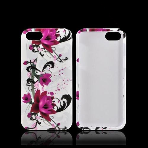 Apple iPhone 5/5S Hard Case - Magenta Flowers & Black Vines on White
