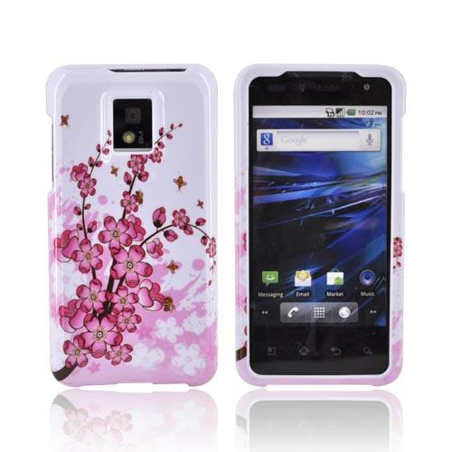 T-Mobile G2X Hard Case - Cherry Blossom on White