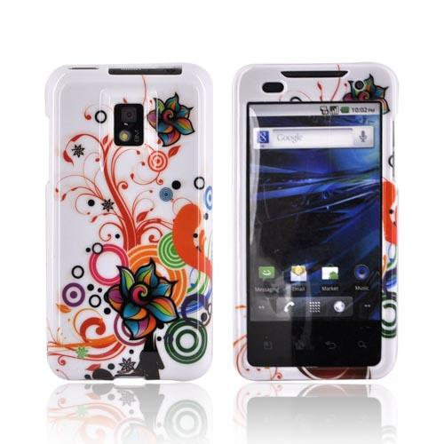 T-Mobile G2X Hard Case - Rainbow Autumn Floral Design on White
