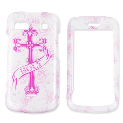 LG Xenon GR500 Hard Case - Pink Cross on White
