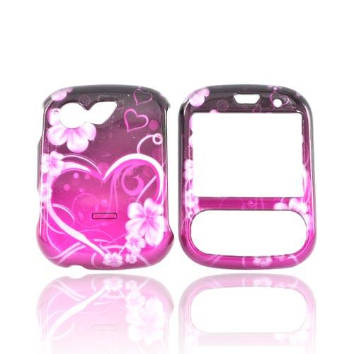 LG Remarq LN240 Hard Case - Flowers And Heart Pink/Hotpink