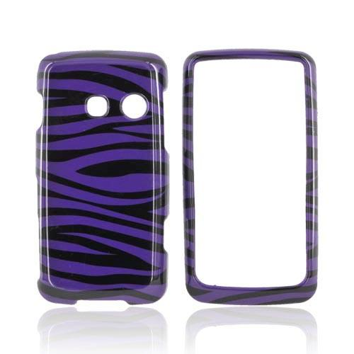 LG Rumor Touch LN510 Hard Case - Purple/Black Zebra