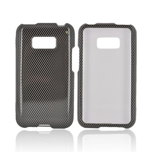 LG Optimus Elite Hard Case - Black/ Gray Carbon Fiber