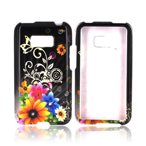 LG Optimus Elite Hard Case - Yellow Chromatic Flowers on Black