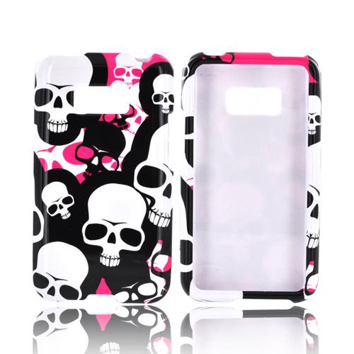 LG Optimus Elite Hard Case - Hot Pink/ White/ Black Falling Skulls