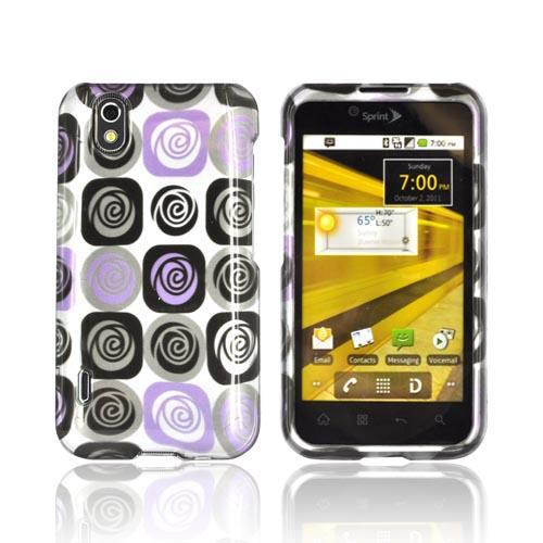 LG Marquee LS855 Hard Case - Light Purple and Black Roses on Silver