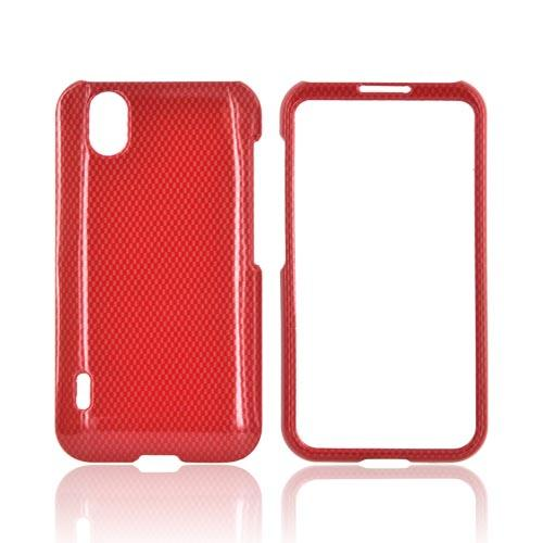 LG Marquee LS855 Hard Case - Red Carbon Fiber
