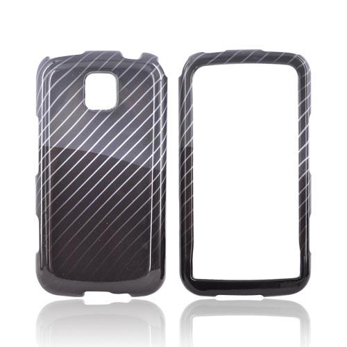 LG Optimus M MS690 Hard Case - Lines on Black/Gray
