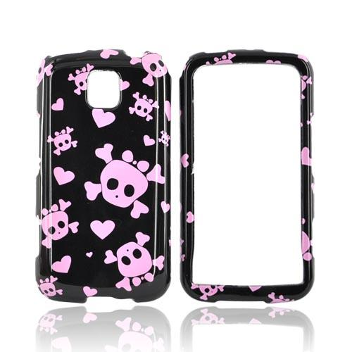 LG Optimus M MS690 Hard Case - Pink Skulls on Black
