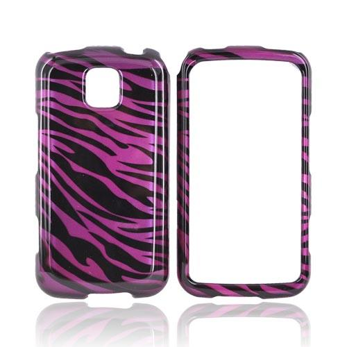 LG Optimus M MS690 Hard Case - Purple/Black Zebra