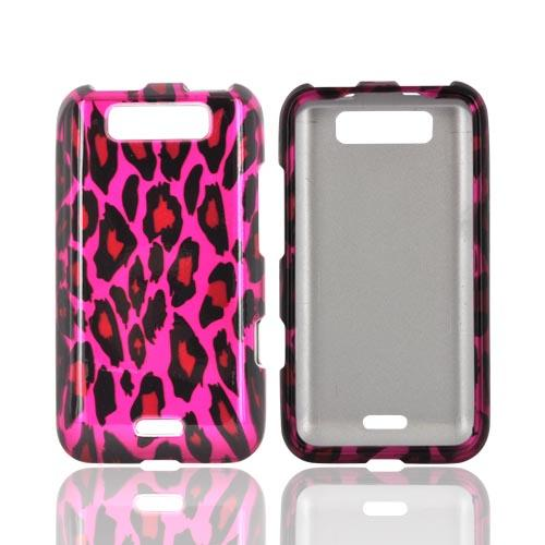 LG Viper 4G LTE/ LG Connect 4G Hard Case - Hot Pink/ Black Leopard