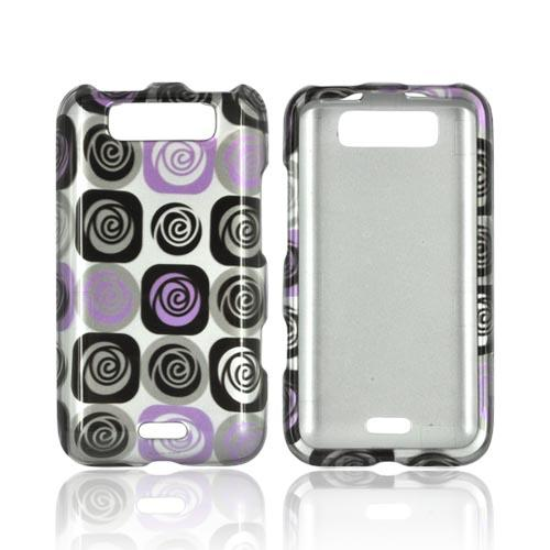LG Viper 4G LTE/ LG Connect 4G Hard Case - Light Purple and Black Roses on Silver
