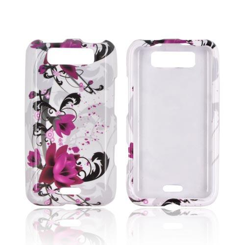 LG Viper 4G LTE/ LG Connect 4G Hard Case Cover - Pink Flower on White