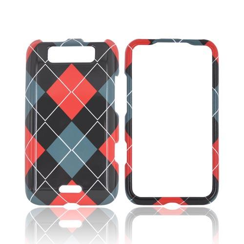 LG Viper 4G LTE/ LG Connect 4G Hard Case - Black, Red, & Gray Argyle