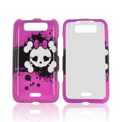 LG Viper 4G LTE/ LG Connect 4G Hard Case - White Skull w/ Bow on Hot Pink