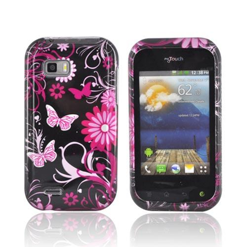 T-Mobile My Touch Q Hard Case - Pink Flowers & Butterflies on Black