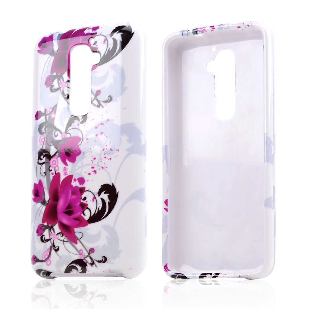 Magenta Flowers & Black Vines on White Hard Case For LG G2 (AT&T, T-Mobile, & Sprint)