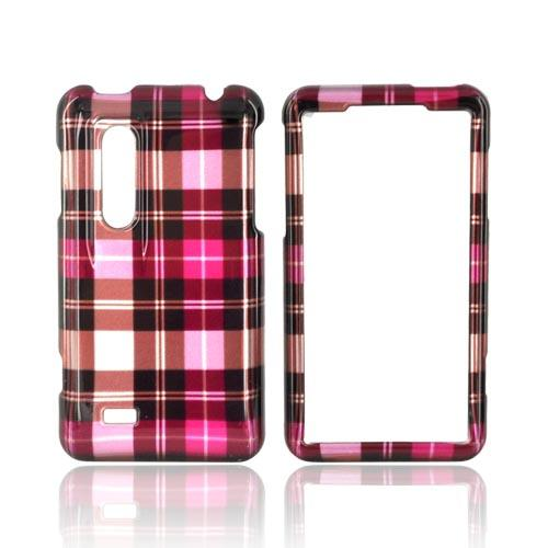 LG Thrill 4G Hard Case - Plaid Pattern of Pink/ Hot Pink/ Brown/ Silver