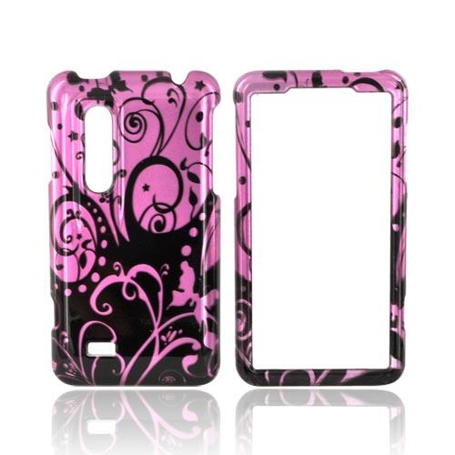 LG Thrill 4G Hard Case - Black Swirl Design on Purple