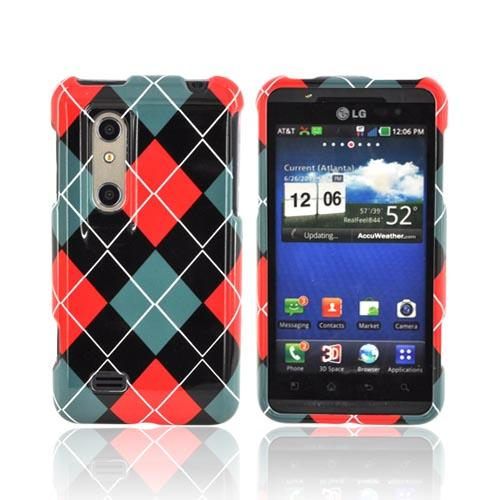 LG Thrill 4G Hard Case - Red/ Black/ Gray Argyle